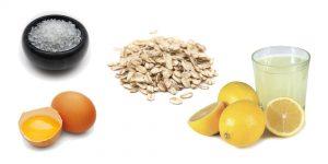 морская соль, яйцо, овсянка и сок лимона