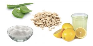 сахарный песок, алоэ, овсянка и сок лимона