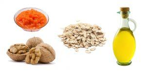 грецкие орехи, тыквенное пюре, овсянка и растительное масло