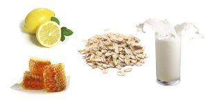 овсянка, лимон, мед и молоко