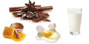 молотый кофе, яйцо, мед, кефир