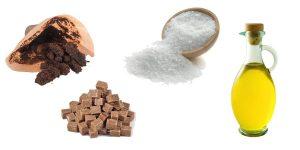 кофейная гуща, масло, морская соль, коричневый сахар