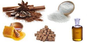 кофейные зерна, морская соль, сахар, мед и эфирное масло пачули