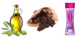 гель для душа, оливковое масло и кофейная гуща