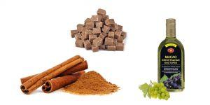 коричневый сахар, корица и масло виноградных косточек