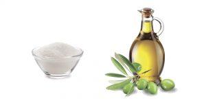 сахарный песок и оливковое масло