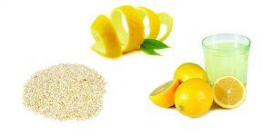 цедра лимона, овсянная мука и лимонный сок