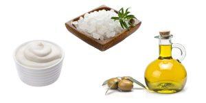 морская соль, сметана и оливковое масло