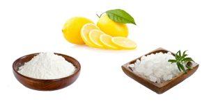 пищевая сода, морская соль и лимон