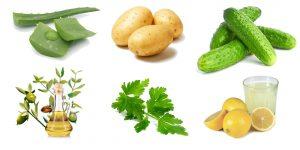 алоэ, огурец, катрашка, оливковое масло, петрушка, лимонный сок