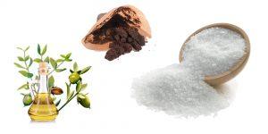кофейная гуща, морская соль и оливковое масло