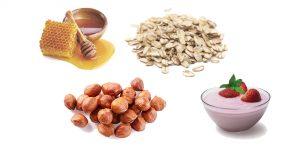мед, овсянка, лесные орехи и йогурт