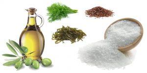 морская капуста, морская соль, оливковое масло укром и льняные семена