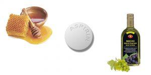 аспирин, мед и масло виноградных косточек