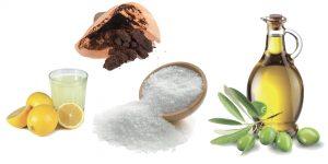 сок лимона, кофейная гуща, соль и оливковое масло