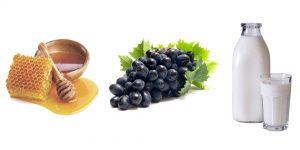 виноград, мед и молоко