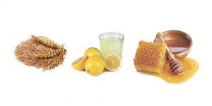 пшеничные отруби, сок лимона и мед
