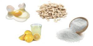 яйцо, сок лимона, овсянка и соль
