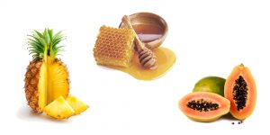 ананас, папайя и мед