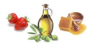 клубника, мед и оливковое масло