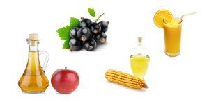 яблочный уксус, смородина, сок лимона и кукурузное масло