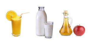 апельсиновый сок, молоко и уксус