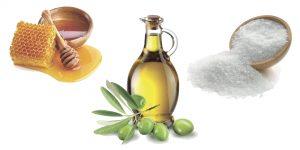 мед, оливковое масло и соль