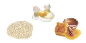 овсяная мука, яйцо и мед