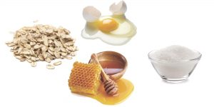 овсянка, мед, сахар и яйцо