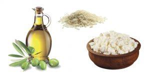 оливковое масло, творог и рис