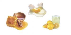 мед, яйцо и лимонный сок