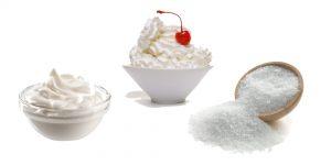 сметана, сливки и крупная соль