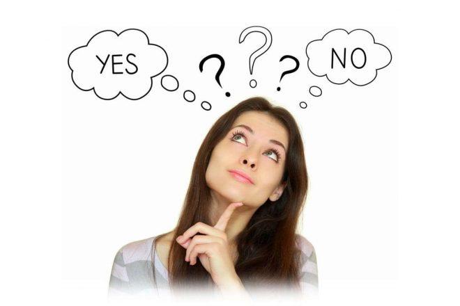 девушка в сомнениях, вопрос, да и нет