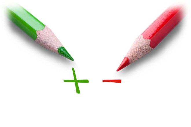 зеленый и красный карандаши, плюс и минус