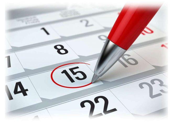 календарь, обведенная красным дата, ручка